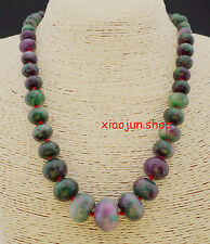 Natural 8-20mm Faceted colorful Kunzite Abacus  Necklace 18""