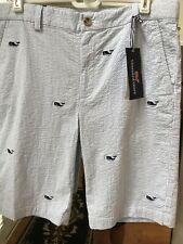 Boys New Vineyard Vines Whale Seersucker Strip Shorts Sz 18 New