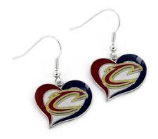 Cleveland Cavaliers Basketball Logo NBA Heart Swirl Charm Dangle Earrings Set