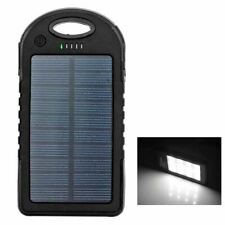 Portable Solar Power Charger Bank Double USB External Battery LED Torch 5000mAh