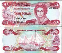 "Bahamas 1974 (1984), $3 Dollars, Prefix ""A' Banknote UNC"
