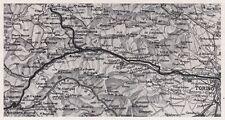 D3519 Torino - Val Susa - Val Chisone - Mappa d'epoca - 1940 vintage map