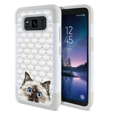 """For Samsung Galaxy S8 Active G892A 5.8"""" Cat Design Bling Hybrid Case Cover"""