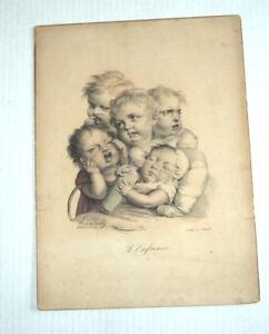 ORIG. 1824 COLOR LITHO by LOUIS-LEOPOLD BOILLY: L'ENFANCE (CHILDHOOD)