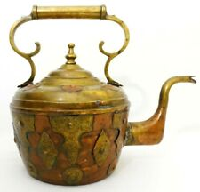 LATE 19TH C ANTIQUE MORROCAN LARGE ORNATE COPPER & BRASS TEA POT, W/BRASS PANELS