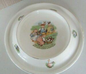 Antique Vintage Heavy ROYAL Baby Feeding Plate Bowl Dish Tiny Todkins 1905 USA