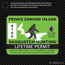 Prince Edward Island Sasquatch Hunting Permit Sticker Bigfoot Vinyl Canada pe