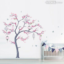 Cherry Blossom Tree stencil pack with lanterns, Japanese wall mural stencils
