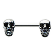 SKULL on ENDS  Nipple Bar Ring Body Piercing Jewelry 14g Halloween Day of Dead