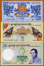 SET, Bhutan, 1, 5, 10, Ngultrum, 2006-2013, P-27-28-29, UNC