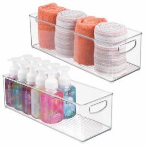 mDesign Storage Bins with Built-in Handles for Bathroom, Vanity, 2 Pack - Clear
