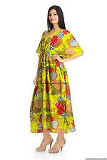 Indian Floral Women Caftan Print Sexy Kaftan Casual Nightwear Long Dress Hippie