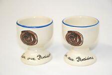 """COOKS LINE PARIS Vintage EGG CUPS """"Pain aux Raisins"""" set of 2  - Small blemish"""
