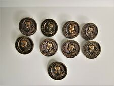 Lot of 9 Vintage Metal Aphrodite Buttons