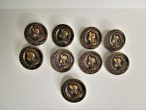 Lot of 9 Vintage Metal Aphrodite Buttons