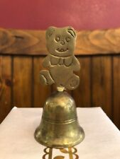 Vintage Brass Teddy Bear Bell Nursery Decor Baby Room MCM Home Solid Figurine