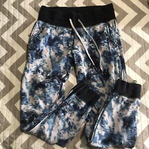 Lululemon No Sweat Joggers Sweatpants Blue Tie Dye Side Zippers Woman's Size 4