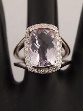 7.50 tcw Checkered Pink Kunzite Diamond Halo E/VS Designer Cocktail Ring 18K WG