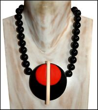 Red Creamy White Pendant Necklace Fab French Designer Deco Shape Black