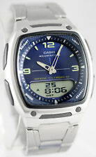Casio AW-81D-2AV Blue Databank Watch Steel Band 10 Year Battery World Time