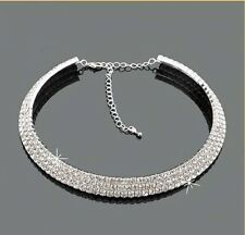 Stunning 3 Row Sparkly Silver Crystal Choker Necklace