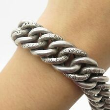 Antq Victorian 925 Sterling Silver Thick Wide Men's Cuban Link Bracelet 7""