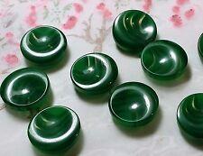 LOT 7 ANCIENS BOUTONS LUCITE ton vert inclusion vague 19 mm VINTAGE E L7