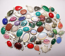 500pcs Pendant Wholesale Lot Mixed Gemstone 925 Silver Plated FEDEX Delivery
