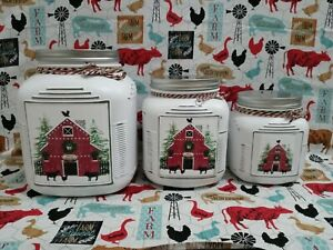 Rustic Modern Farmhouse Kitchen Canisters Christmas Label Decor Holiday Gift