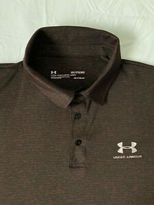 Mens Under Armour Polo Shirt Size XXL / 2XL in Black & Red Fitted Short Sleeve