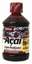 1 flacone OPTIMA Aloe Pura Acai Super Frutta Succo 500 ml Antiossidante bevande