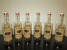 Lot of 6 Empty 1 Liter Tito's Handmade Vodka Bottles with Caps