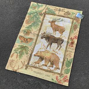 Mountain Lodge Bear Moose Elk Wilderness Pine Cones Tapestry Wall Hanging