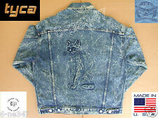 Jean Jacket Embossed Cat Kitten M Medium Blue Denim Cotton Coat Made in USA