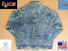 Jean Jacket Embossed Cat Kitten M Medium Blue Denim Cotton Coat Made in USA