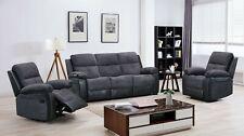Fabric Half / Leather Sofa- 1 Seater, 3 Seater, Corner, Full Set - Dark Grey