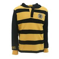 Boston Bruins Official NHL Apparel Kids Youth Size Hooded Rugby Shirt New Tags