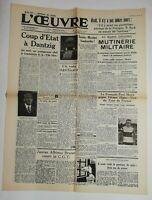 N724 La Une Du Journal L'œuvre 19 juillet 1936 coup d'état à dantzig