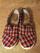 TOMS Red Black & White Plaid Classic Slip-On Flannel Casual Shoe Kids Youth Sz 2