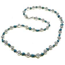 El Coral Collar Perlas Blancas, Chips Turquesa y Bolas Plateadas alternadas