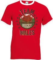 Wales Team Rugby Mens Welsh Ringer T-Shirt Perfect Six 6 Nations & World Cup