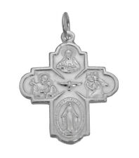 Sterling Silver Jesus Family Cross Saint Christopher Joseph Virgin Mary charm