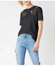 Embroidered Floral Black Cotton Top #A1161