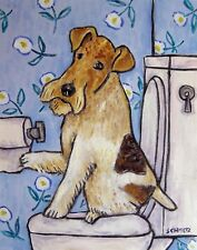 FOX TERRIER BATHROOM picture dog ART PRINT poster 8x10 signed gift new