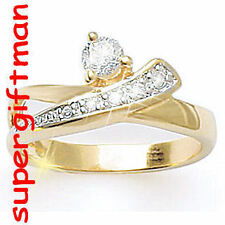 X035 - BAGUE OR DOUBLE AM. / ring goud  DIAMANTS CZ T56