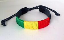 NEW IRIE UNISEX ADJUSTABLE RED, GREEN AND GOLD RASTA LEATHER BRACELET