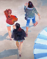 Impressionism painting Girls At Boardwalk, Artist, Figures, Portraits, Medium