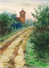 ACEO WATERCOLOR RAVEN CROW RYTA LANDSCAPE CHURCH PRINT OF PAINTING PLAIN AIR ART
