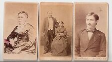 Three 1870's CDV Photos Adult Male, Female, & Couple Very Good Cond. - Free Ship