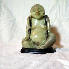 Rare soapstone carved buddha buddah budha #10 on carved stone base